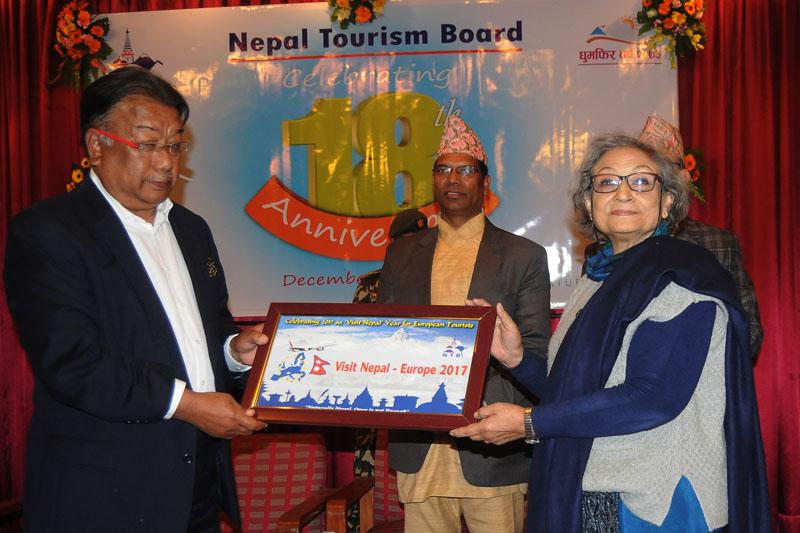 Seasoned tourism entrepreneurs Ambica Shrestha and Karna Shakya unveiling the u0091Visit Nepal-Europe campaign 2017u0092 of the Nepal Tourism Board on the occasion of 18th anniversary of NTB, in Kathmandu, on Saturday, December 31, 2016. Photo: Bal Krishna Thapa Chhetri/THT