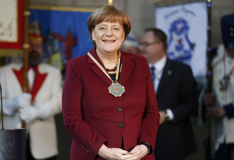 German Chancellor Angela Merkel attends a reception of German carnival societies at the Chancellery in Berlin, Germany, on January 23, 2017. Photo: Reuters