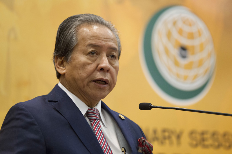 Malaysian Foreign Minister Anifah Aman speaks during a press conference a day before the Extraordinary Session of the OIC Council of Foreign Ministers on the situation of the Rohingya Muslim Minority in Myanmar at a conference center in Kuala Lumpur, Malaysia, Wednesday, Jan. 18, 2017. Photo: AP