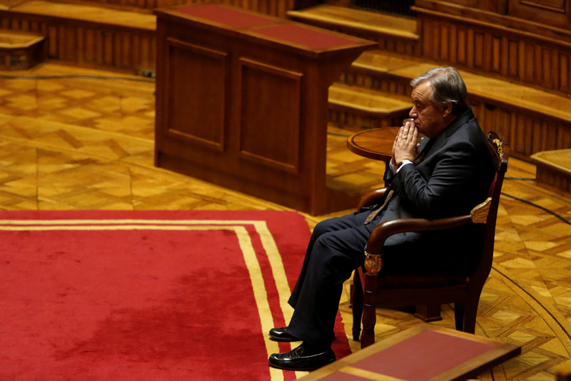 United Nations Secretary General-designate Antonio Guterres waits to be awarded by the Portuguese parliament with the human rights prize for his work as UN High Commissioner for Refugees, in Lisbon, Portugal, on December 23, 2016. Photo: Reuters