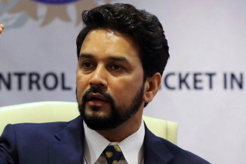 FILE PHOTO: Anurag Thakur, newly-elected president of Board of Control for Cricket in India (BCCI), gestures during a news conference in Mumbai, India May 22, 2016. Photo: Reuters