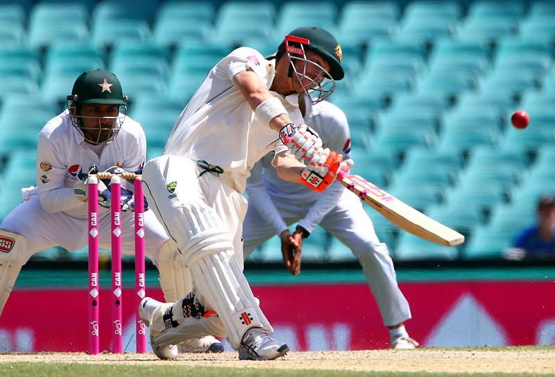 Australia's David Warner hits a six. Photo: Reuters