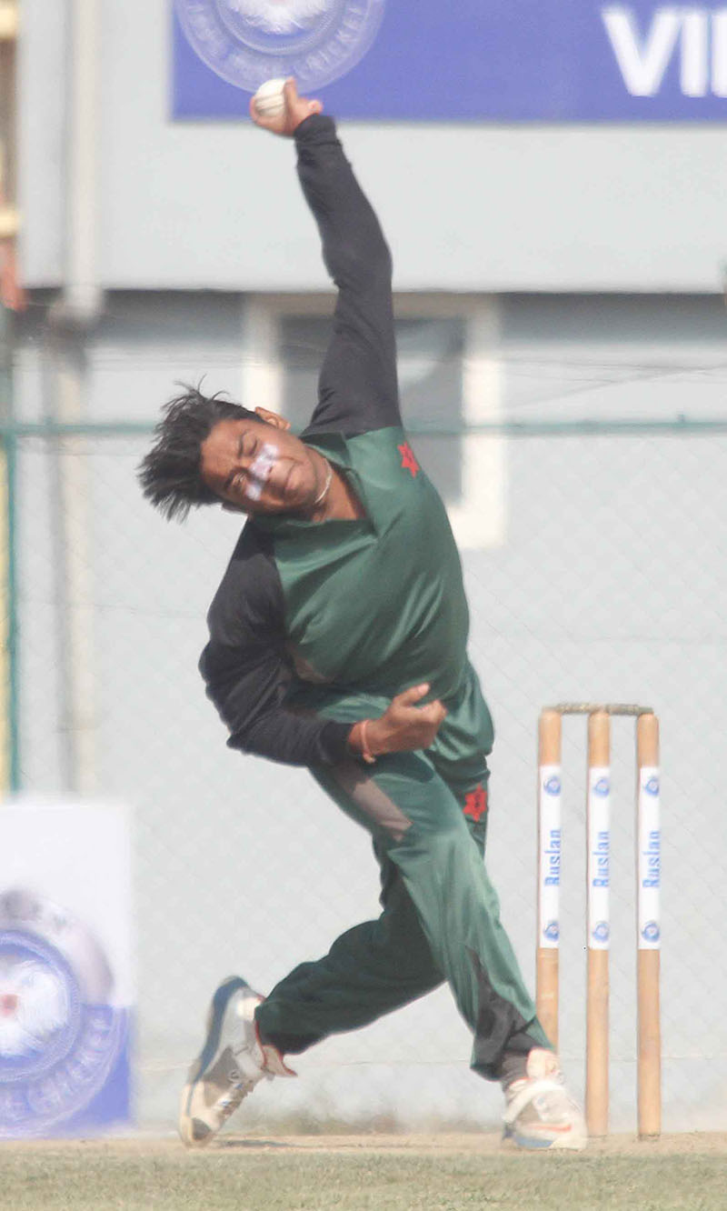 Avinash Karn of TAC bowls against Royal PC Fighter during their second Ruslan Cup Twenty20 Cricket Tournament match at the TU Stadium on Friday, January 13, 2017. Photo: Udipt Singh Chhetry/THT