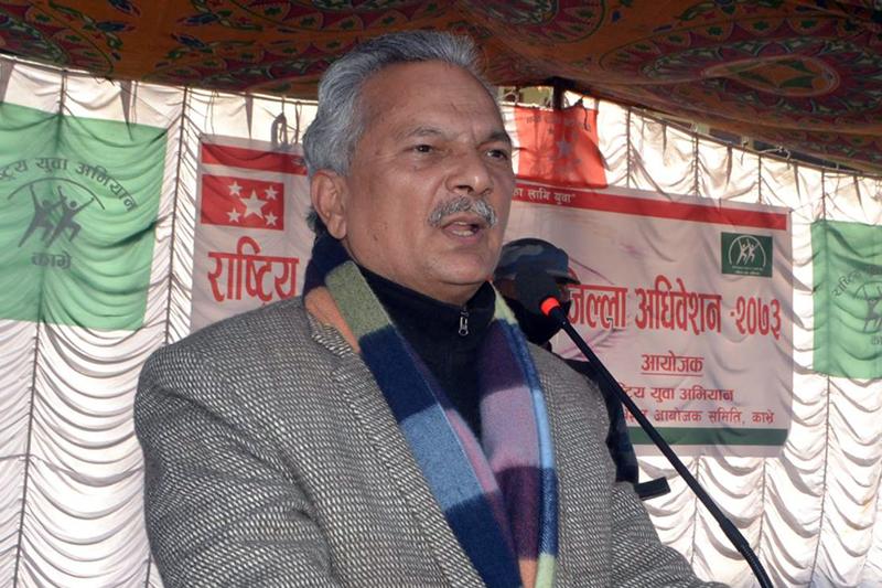 Naya Shakti Nepal Party Co-ordinator Baburam Bhattarai speaks at a programme in kavre district, on Monday, January 23, 2017. Photo: RSS