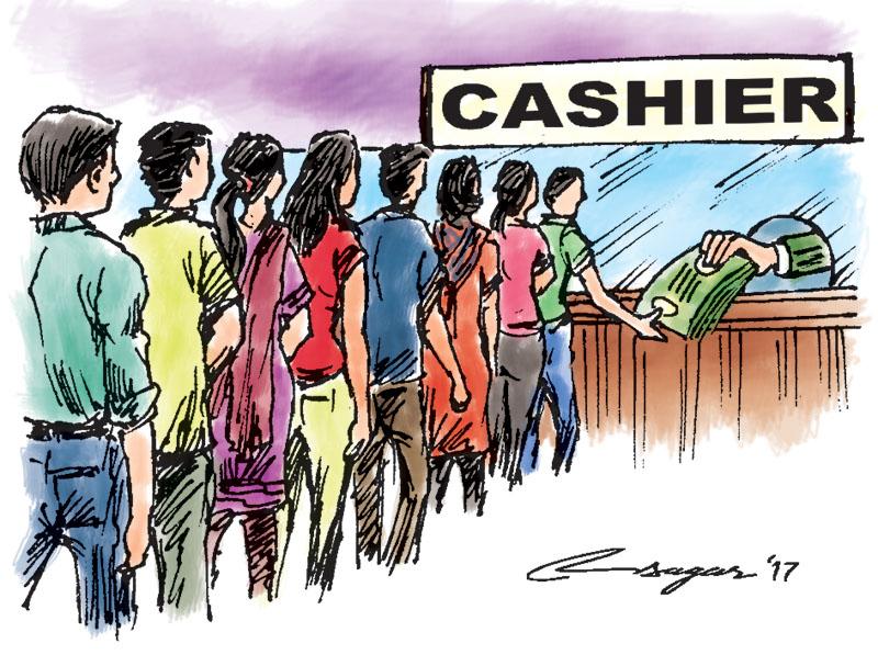 Bank cashier. Illustration: Ratna Sagar Shrestha/THT