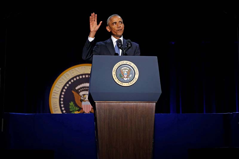US President Barack Obama concludes his farewell address in Chicago, Illinois, US on January 10, 2017. Photo: Reuters
