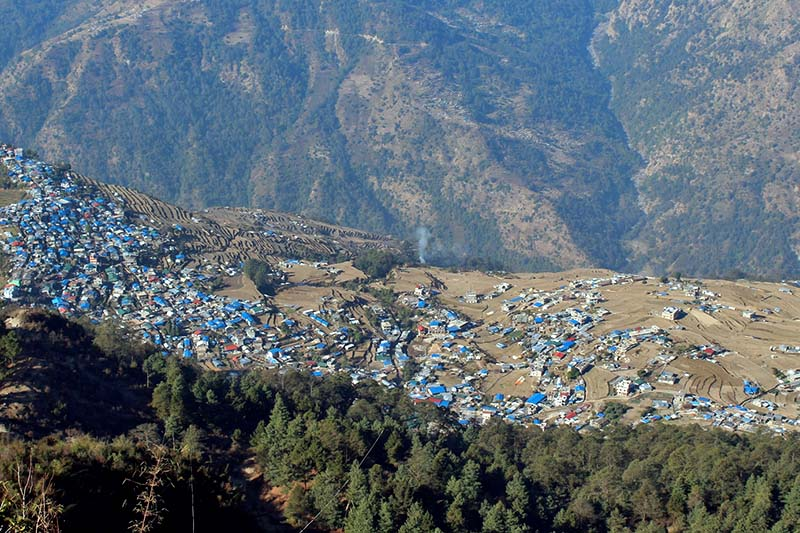The epicentre of 2015 April 25 earthquake, Barpak, in Gorkha district, as captured on Monday, January 16, 2017. The village still awaits reconstruction. Photo: RSS