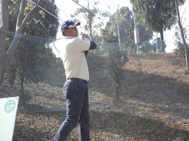 Basanta Raj Gurung plays a shot during the first round of the Surya Nepal Golf Tour NPGA Qualifying School at the Royal Nepal Golf Club in Kathmandu on Tuesday, January 24, 2017. Photo courtesy: NPGA