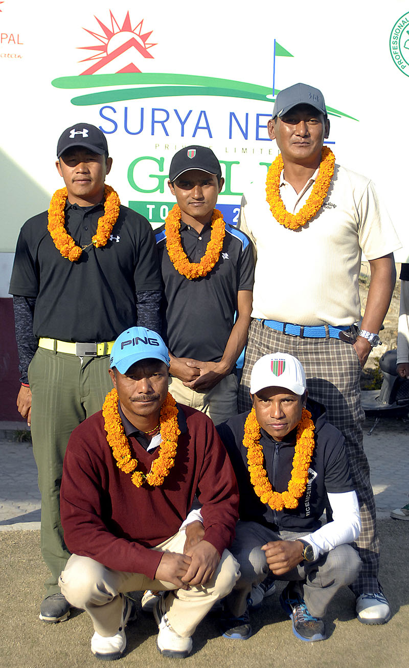 Winner Bhuwan Kumar Rokka (centre) and others pose for a photo after the Surya Nepal Golf Tour NPGA nQualifying School in Kathmandu on Thursday, January 26, 2017. Photo: Naresh Shrestha/THT