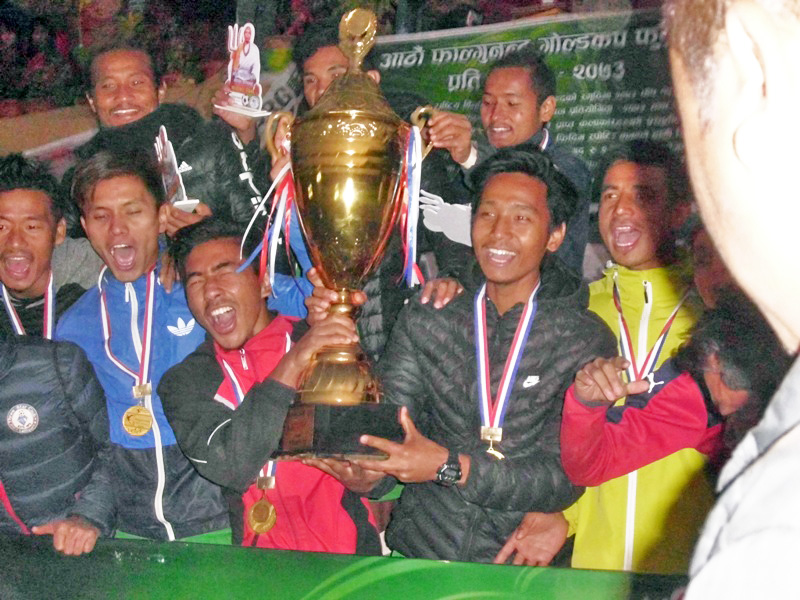Birta United Club's players celebrate their victory in the Phalgunanda Gold Cup, in Phidim of Panchthar district, on Sunday, January 8, 2016. Photo: Laxmi Gautam