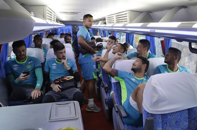 The new Chapecoense soccer team sits in a bus on their way to a training session in Chapeco, Brazil, on Wednesday, January 18, 2017. Photo: AP