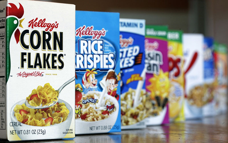 FILE - Kellogg's cereal products in Orlando, Florida, on February 1, 2012. Photo: AP