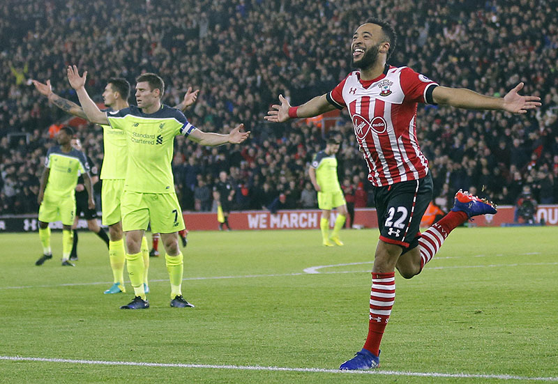 Southampton's Nathan Redmond celebrates after scoring during the English League Cup semifinal first leg soccer match between Southampton and Liverpool at St Mary's stadium in Southampton, England, on Wednesday, January 11, 2017. Photo: AP