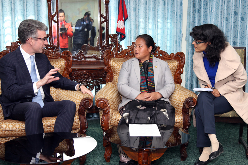 British Ambassador to Nepal Richard Morris holds a meeting with Speaker Onsari Gharti at the latter's office in Kathmandu, on Monday, January 30, 2017. Photo: RSS