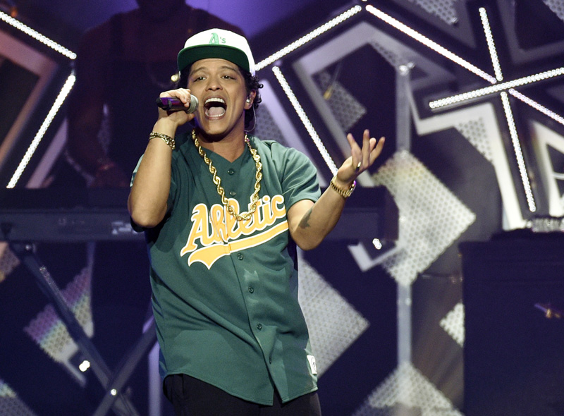 FILE - In this Friday, Dec. 2, 2016, file photo, Bruno Mars performs at the 2016 Jingle Ball at Staples Center in Los Angeles. Photo: AP