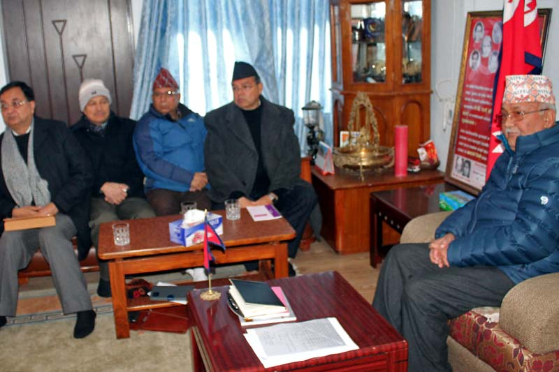 FILE: A meeting of the CPN-UML Standing Committee at Chairman KP Sharma Oli's residence in Balkot of Bhaktapur, on Tuesday, January 3, 2017. Photo: RSS