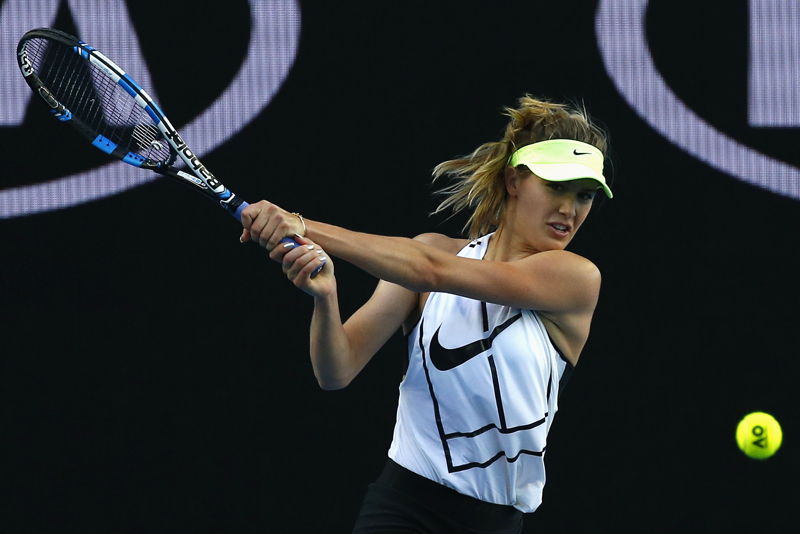 Canada's Eugenie Bouchard hits a shot during a training session ahead of the Australian Open tennis tournament, in Melbourne, Australia January 15, 2017. Photo: Reuters