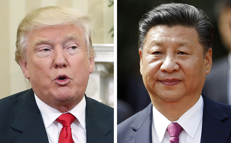 FILE - This combination of two 2016 file photos shows, US President-elect Donald Trump (left) talking with President Barack Obama at White House in Washington, USA. on November 10, and China's President Xi Jinping arriving at La Moneda presidential palace in Santiago, Chile, on November 22. Chinese leaders are meeting to set economic goals for 2017 amid pressure from Trump and European governments over trade and market access. Photo: AP