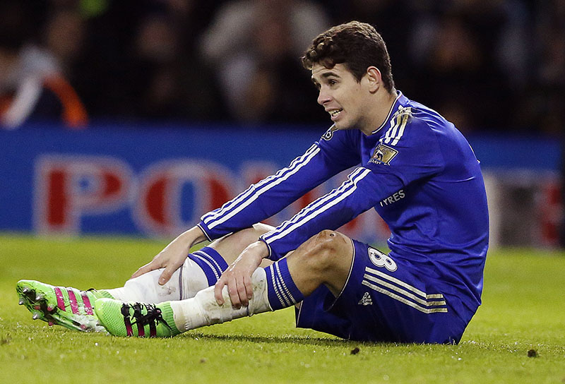 FILE - Chelsea's Oscar sits on the pitch during the English Premier League soccer match between Watford and Chelsea at the Vicarage Road stadium in London, on February 3, 2016. Photo: AP