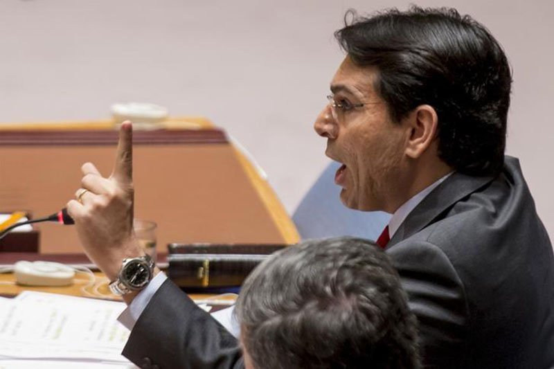 Israel's Ambassador to the United Nations Danny Danon speaks during a United Nations Security Council meeting on the Middle East at the United Nations Headquarters in New York, October 22, 2015. REUTERS/Brendan McDermid