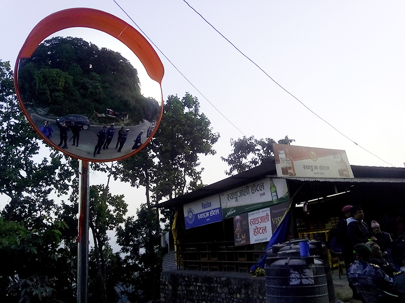 A convex mirror installed in Daunne of Nawalparasi district along the East-West Highwa, on Sunday, January 15, 2017. Photo: Shreeram Sigdel/THT