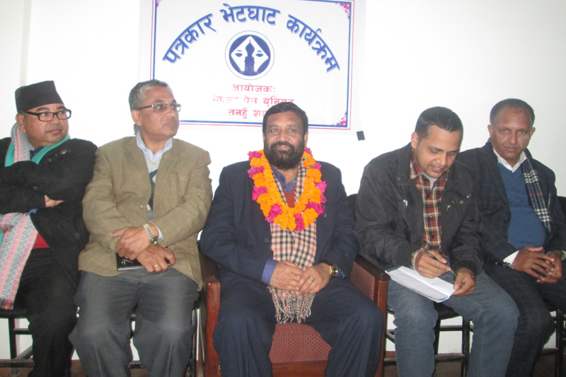 Deputy Prime Minister and Minister for Home Affairs Bimalendra Nidhi speaks with journalists at a press meet in Damauli of Tanahun, on Saturday, January 28, 2017. Photo: Madan Wagle