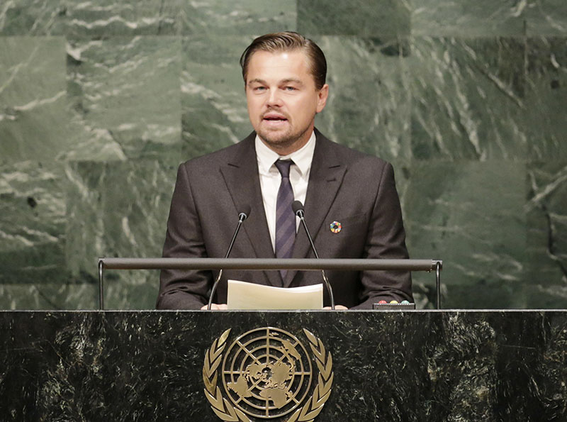 FILE - Actor Leonardo Di Caprio, a United Nations Messenger of Peace, speaks at the signing ceremony for the Paris Agreement on climate change at UN headquarters, on April 22, 2016. Photo: AP