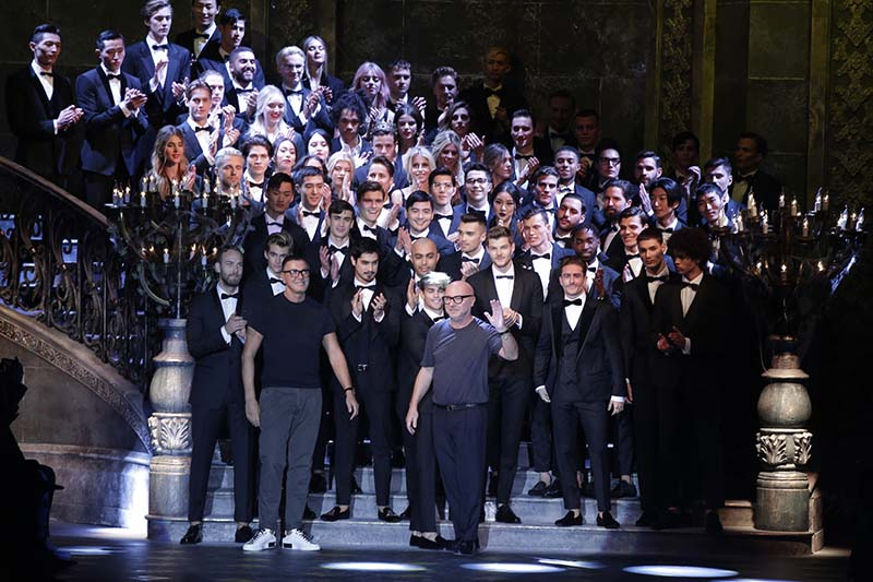 Fashion designer Domenico Dolce (centre) acknowledges the applause at the end of the Dolce & Gabbana men's Fall-Winter 2017-2018 collection, part of the Milan Fashion Week, unveiled in Milan, Italy, on Saturday, January 14, 2017.Photo: AP