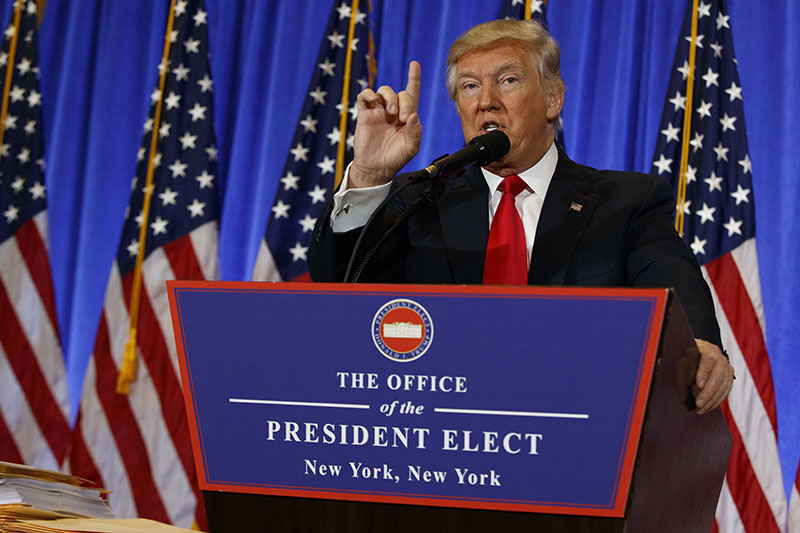 President-elect Donald Trump speaks during a news conference in the lobby of Trump Tower in New York, on Wednesday, January 11, 2017.  Photo: AP