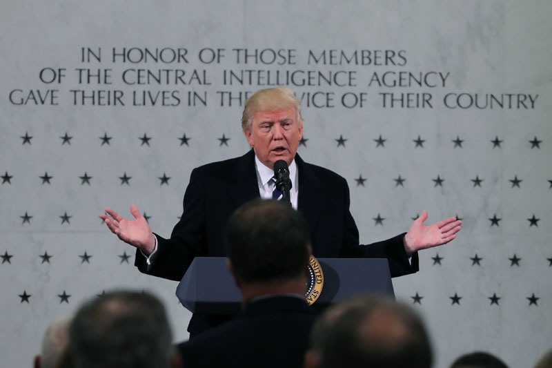 US President Donald Trump delivers remarks during a visit to the Central Intelligence Agency (CIA) in Langley, Virginia US on January 21, 2017. Photo: Reuters