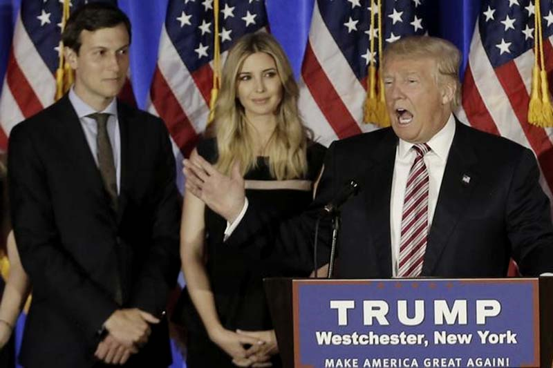 File-Donald Trump speaks as his son-in-law Jared Kushner (left), daughter Ivanka listen at a campaign event at the Trump National Golf Club Westchester in Briarcliff Manor, New York, on June 7, 2016. Photo: Reuters