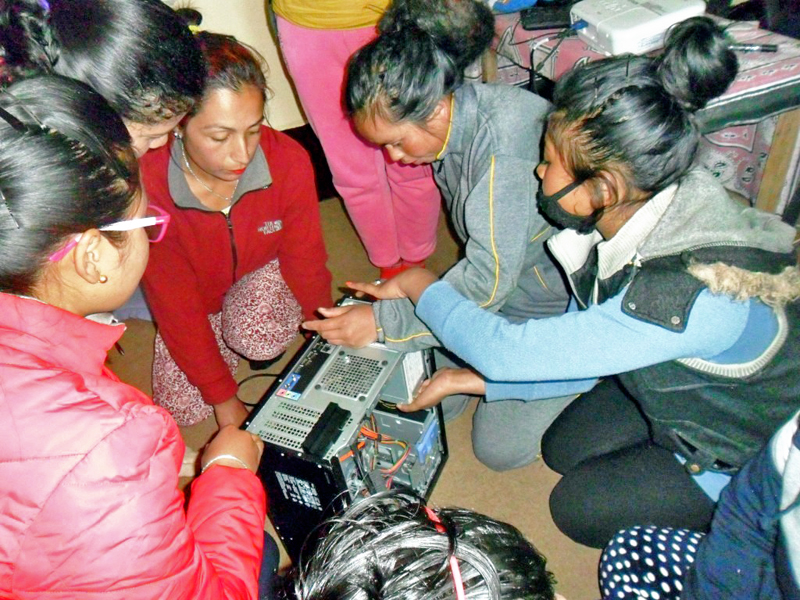 Women participate in a computer hardware maintainance trainning organised by the Maiti Nepal in Ilam district, on Thursday, January 5, 2016. Photo: RSS