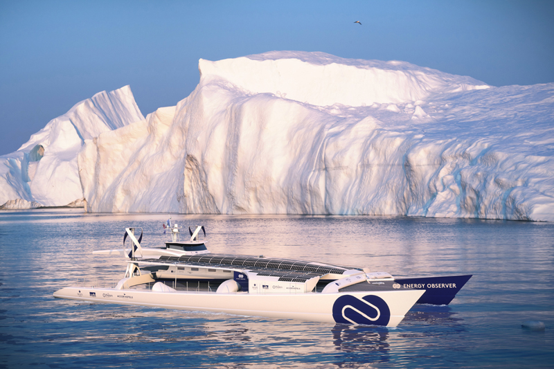 This computer image provided by Energy Observer, shows the Energy Observer boat, which is powered solely by renewable energies and hydrogen. Photo: AP