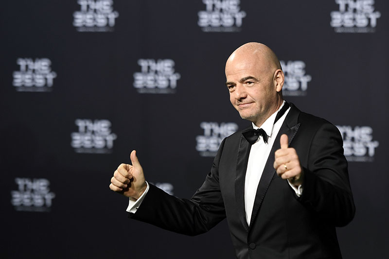 FIFA President, Gianni Infantino, poses for a photo on the green carpet while arriving for the The Best FIFA Football Awards 2016 ceremony  in Zurich, Switzerland, on Monday, January 9, 2017. Photo: Walter Bieri/Keystone via AP