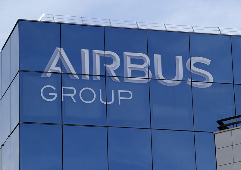 The logo of the Airbus Group in Suresnes, outside Paris, on May 6, 2016. Photo: AP