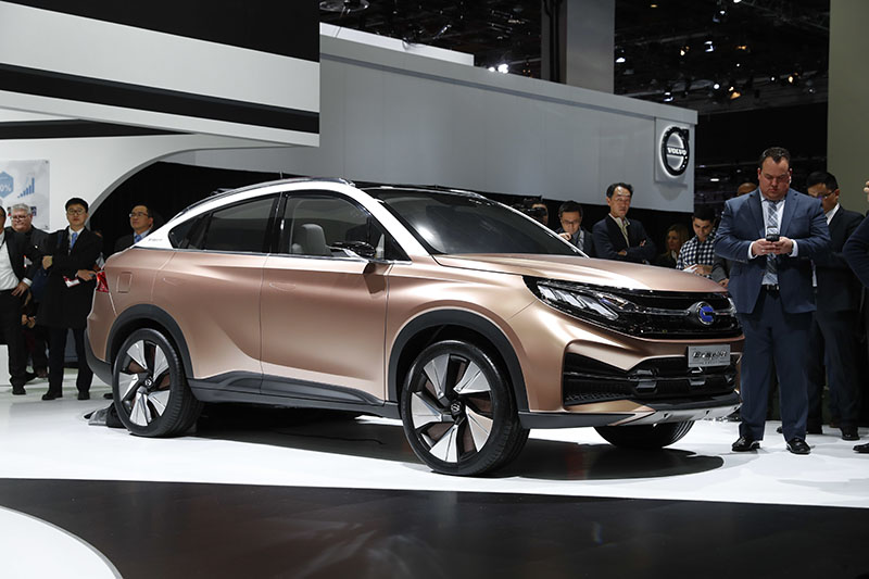 The GAC Motors EnSpirit, an electronic hybrid conceptual car, is displayed at the North American International Auto Show in Detroit, on Monday, January 9, 2017. Photo: AP