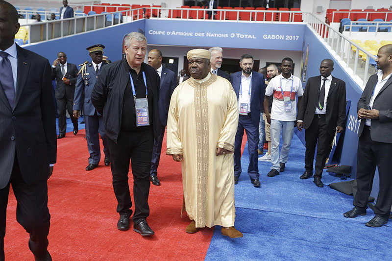 Gabon's President Ali Bongo Ondimba (right) visits Stade de l'Amitie, ahead of the opening ceremony and group A soccer matches between Gabon and Guinea Bissau at the Africa Nations Cup in Libreville, Gabon Friday Jan. 13, 2017. Photo: AP