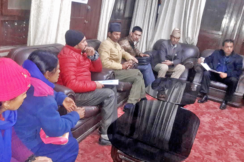Health Minister Gagan Thapa receiving memorandum from HIV patients, in Kathmandu, on Saturday, January 7, 2017. Photo: THT
