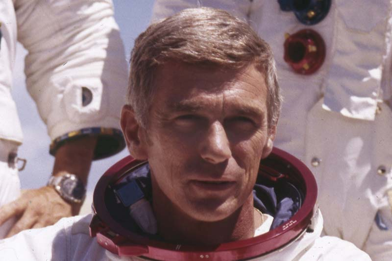 File-In an undated file photo provided by NASA, US  Navy Commander and Astronaut for the upcoming Apollo 17, Eugene Cernan, is pictured in his space suit. Photo: NASA via AP