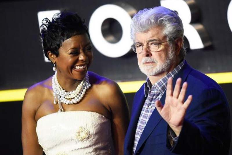 File-George Lucas and his wife Mellody Hobson arrive at the European Premiere of Star Wars, The Force Awakens in Leicester Square, London, Britain, on December 16, 2015. Photo: Reuters