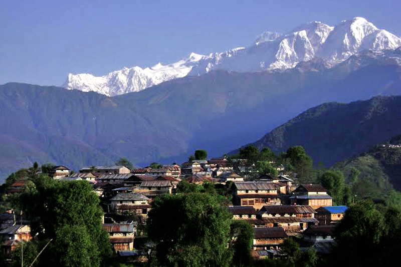 FILE - A scenic view of Ghale Gaun, a model SAARC tourism village, with mountains in the backdrop, in Lamjung, on Friday, January 13, 2017. Photo: THT