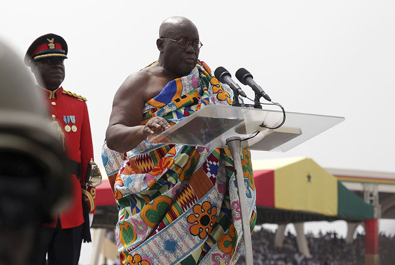 Ghana President elect Nana Akufo-Addo speaks during his inauguration ceremony in Accra, Ghana, on Saturday, January 7, 2017. Photo: AP