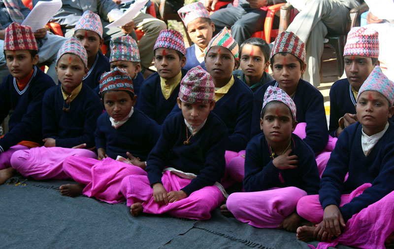 Young students of the Gorakshanath Vedic Gurukul, a traditional school of Vedic education, in Gorkha district headquarters, attend a class, on on Sunday, January 1, 2017. Photo: RSS