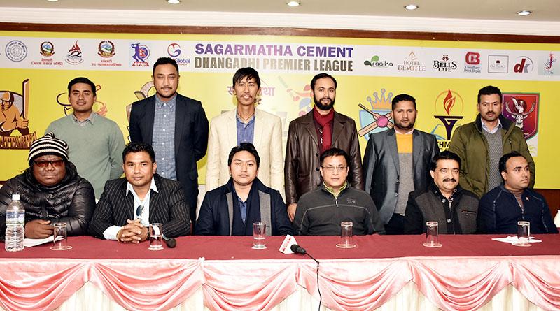 (Back row from left) Skippers Gyanendra Malla, Paras Khadka, Shakti Gauchan, Sharad Vesawkar, Basant Regmi and Binod Bhandari with team owners and co-owners of the Sagarmatha Cement Dhangadhi Premier League, at a press meet in Kathmandu on Thursday, January 5, 20174. Photo: Naresh Krishna Shrestha/THT
