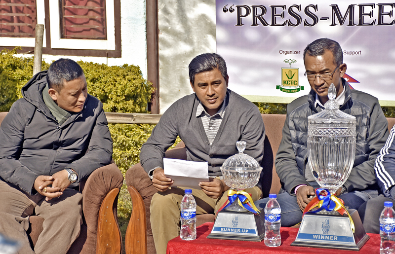 Kathmandu Cricket Training Centre President nGyanendra Malla (centre) speaks as Chief Brand Officer of Jawalakhel Group of Industries Sushil Prasad Shrestha looks on during a press meet in Lalitpur on Friday, January 6, 2016. Photo: THT