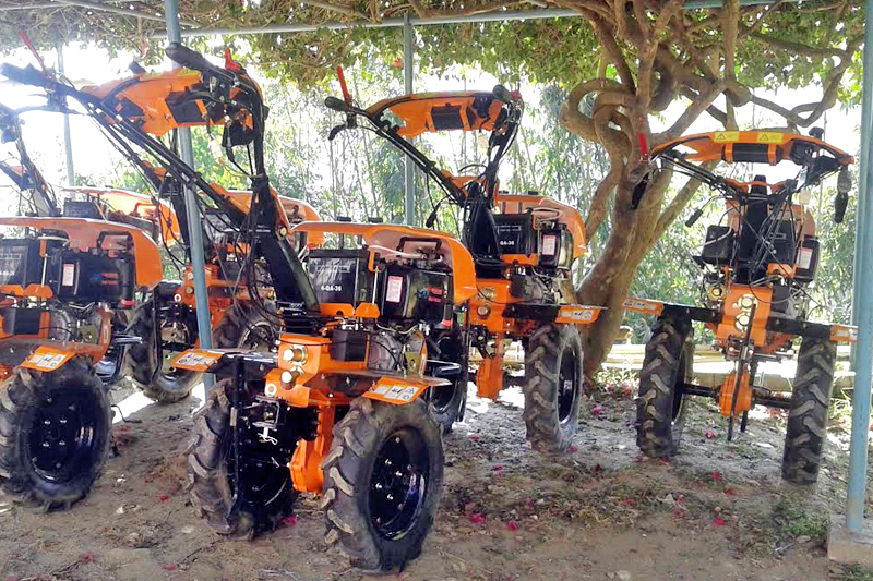 Hand tractors meant for distribution among farmers at District Agriculture Development Office, Khotang, on Friday, January 6, 2016. Photo: THT