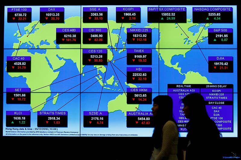 File-A panel displays global stock indexes at the Hong Kong Exchanges in Hong Kong, China on December 5, 2016. Photo: Reuters