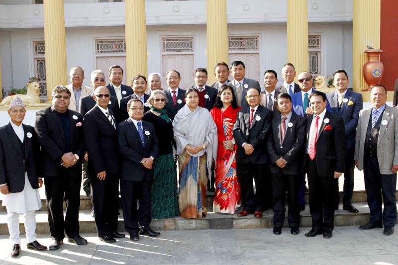 Members of the Honorary Consul Corps-Nepal take a photograph with President Bidya Devi Bhandari at the Sheetal Niwas, Kathmandu, on Wednesday, January 25, 2017. Photo: President's office