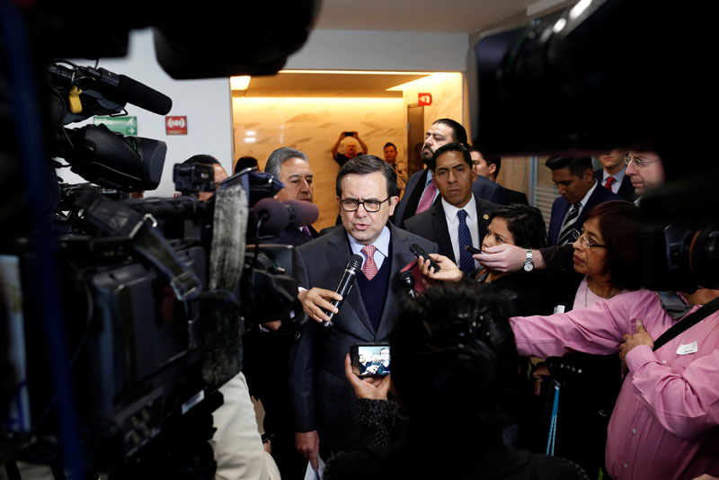 Mexico's Economy Secretary Ildefonso Guajardo Villarreal speaks to the media after a meeting with a Japanese businessman in Mexico City, Mexico, on January 13, 2017. Photo: Reuters