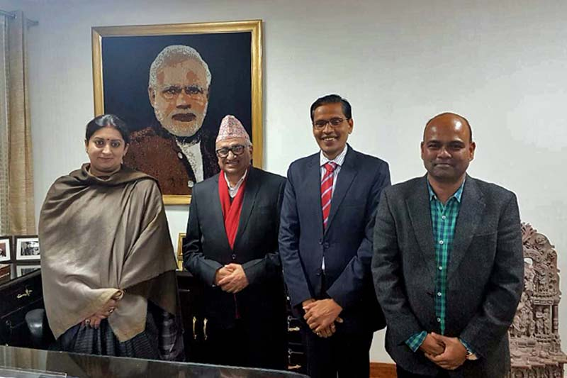 (Left) Indian Minister for Textiles Smriti Zubin Irani poses for a photograph with Nepali Ambassador to India Deep Kumar Upadhyay in New Delhi, on Wednesday, January 18, 2017. Photo Courtesy: Embassy of Nepal in New Delhi